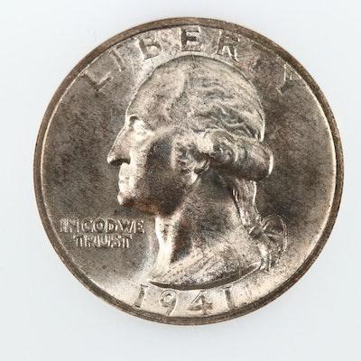 1941-S Uncirculated Washington Silver Quarter