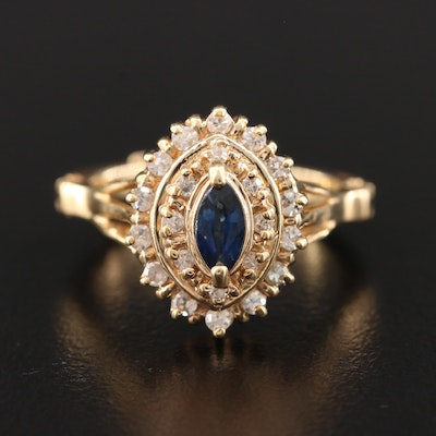 14K Yellow Gold Blue Sapphire and Diamond Ring with Arthritic Shank