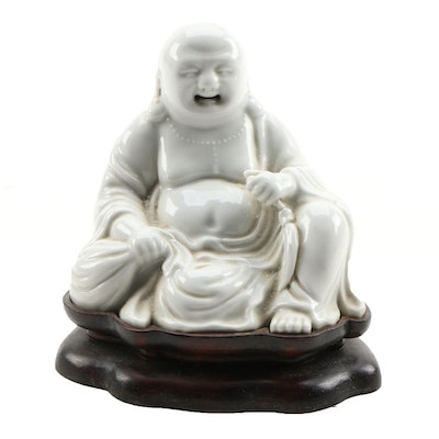 Porcelain Buddha Figurine with Wooden Base