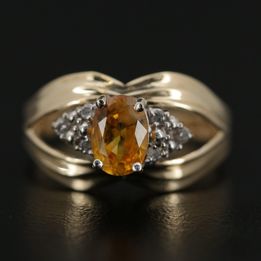 14K Yellow Gold Yellow Sapphire and Diamond Ring