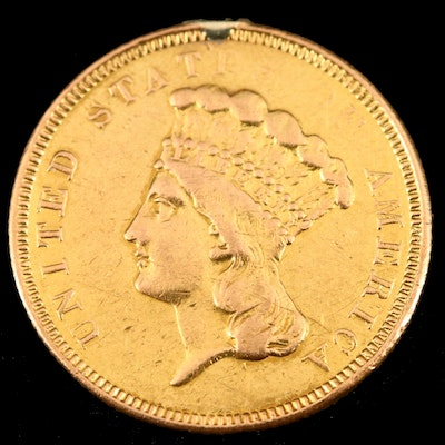 Key Date 1854-O Indian Princess Head $3 Gold Coin