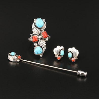 Southwestern Sterling Coral and Turquoise Ring, Earrings and Stick Pin Set