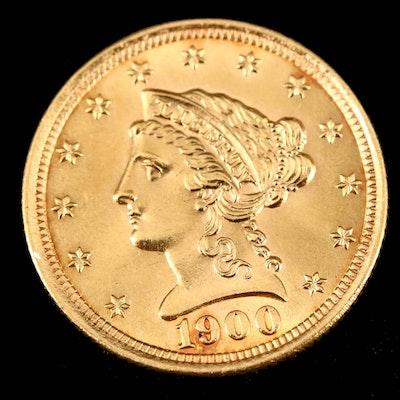 1900 Liberty Head $2.50 Gold Quarter Eagle Coin