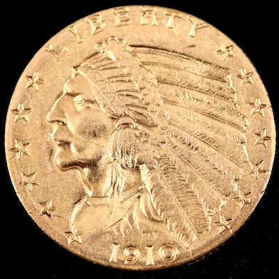 1910 Indian Head $2.50 Gold Quarter Eagle Coin