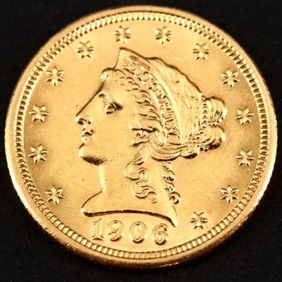 1906 Liberty Head $2.50 Gold Quarter Eagle Coin