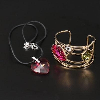Swarovski Crystal Cuff Bracelet and Pendant Necklace
