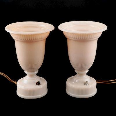 Aladdin Model G 376 Pale Pink Milk Glass Urn Lamps