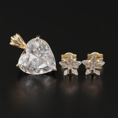 14K Yellow Gold Cubic Zirconia Star Stud Earrings and Heart Pendant