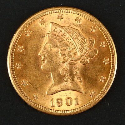 1901 Liberty Head $10 Gold Eagle Coin