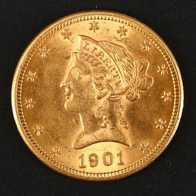 1901 Liberty Head $10 Gold Eagle Coin