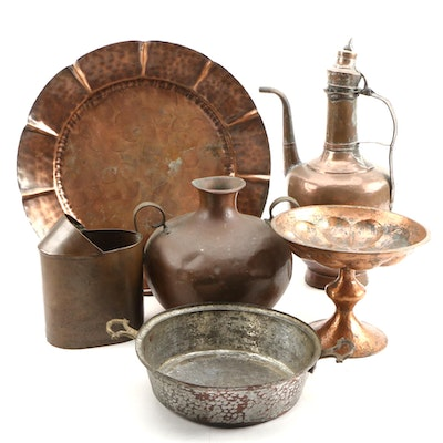 Indian Copper Coffee Pot with Other Copper and Metal Serveware and Décor