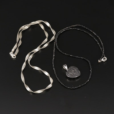 Sterling Silver Twisted Herringbone and Beaded Black Onyx Necklace