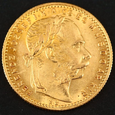 1887 Hungary Gold 20-Francs/8-Forint Coin