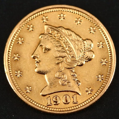 1901 Liberty Head $2.50 Gold Quarter Eagle Coin