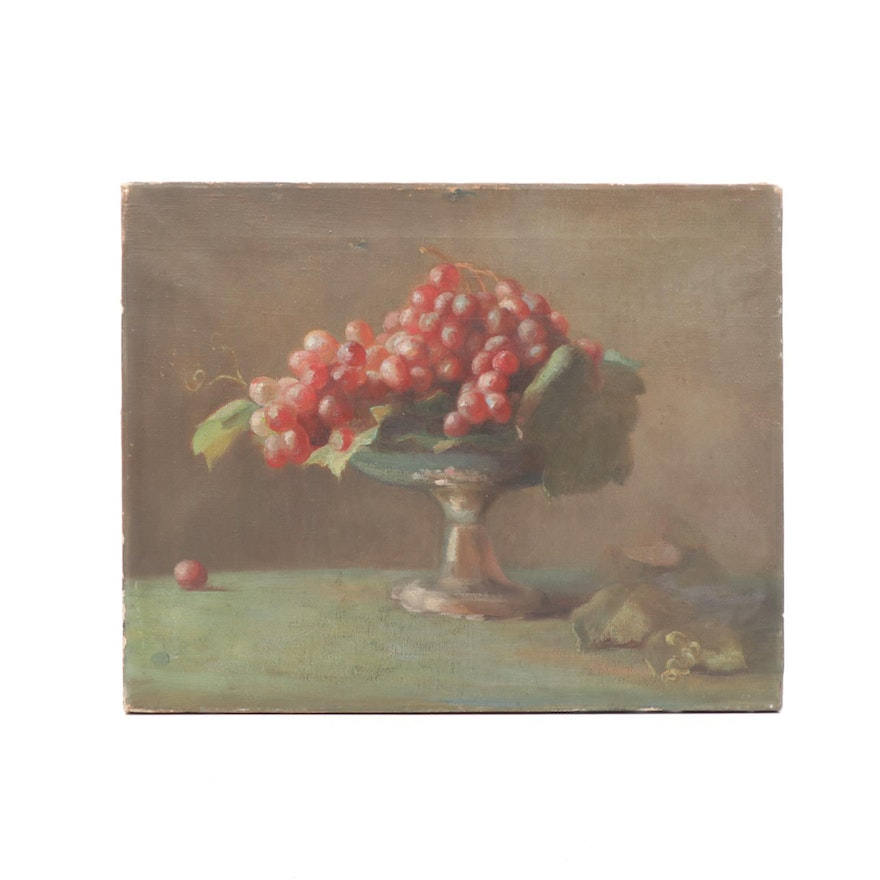 Still Life With Fruit Oil Painting, Early 20th Century