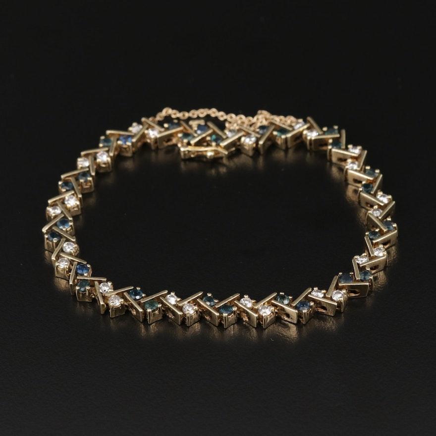 14K Yellow Gold Sapphire and 1.30 CTW Diamond Bracelet