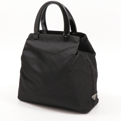 Prada Black Tessuto Nylon Tote Bag with Acrylic Handles