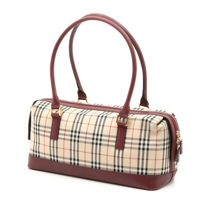 "Burberry London ""Nova Check"" Canvas and Saffiano Leather Top Handle Bag"