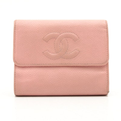Chanel CC Pink Caviar Leather Trifold Wallet