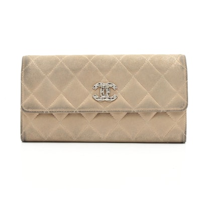 Chanel CC Metallic Gold Quilted Lambskin Flap Wallet