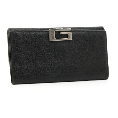Gucci G Black Leather Long Wallet