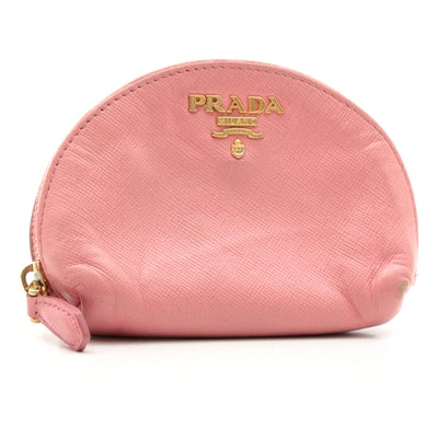 Prada Pink Saffiano Leather and Lambskin Zip Coin Purse with Keychain