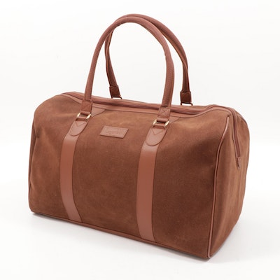 Karl Lagerfeld Brown Faux Suede Duffel Bag