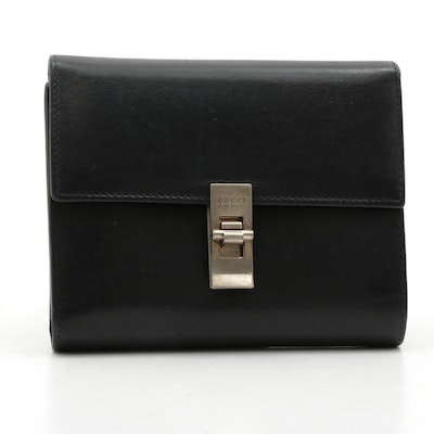 Gucci Black Leather Foldover Wallet with Lock Hardware