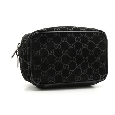 Gucci Guccissima Black Suede and Leather Travel Pouch
