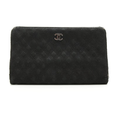Chanel Black Nubuck Diamond Stitched Leather Continental Wallet