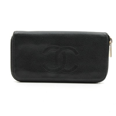 Chanel CC Caviar Leather Zip Wallet in Black