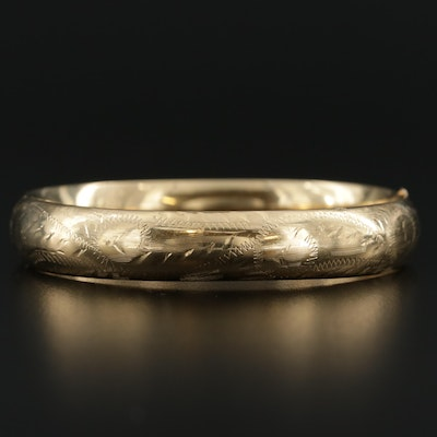 14K Yellow Gold Engraved Bangle Bracelet