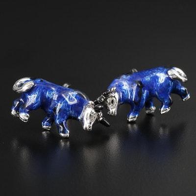 Blue Bull Enamel Cufflinks