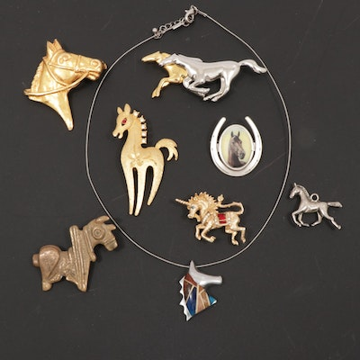 Equine Themed Jewelry Including Maeve Carr, Mamselle, and Metropolitan Museum