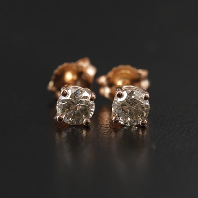 14K Rose Gold 0.66 CTW Diamond Stud Earrings