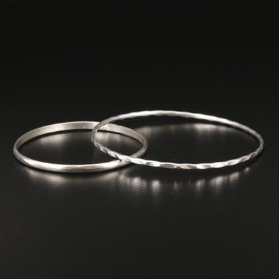 Bangle Bracelet Selection Featuring Crinkled Sterling Silver Bracelet