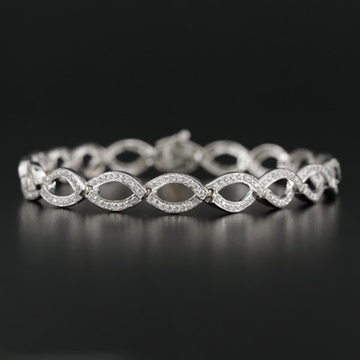 Sterling Silver Cubic Zirconia Bracelet With Twisting Motif