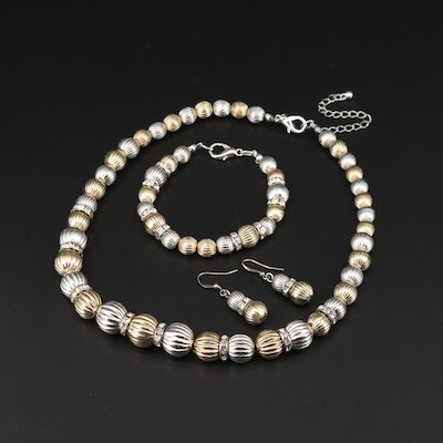 Two Tone Bead Necklace, Bracelet, and Earrings Set Featuring Glass Accents
