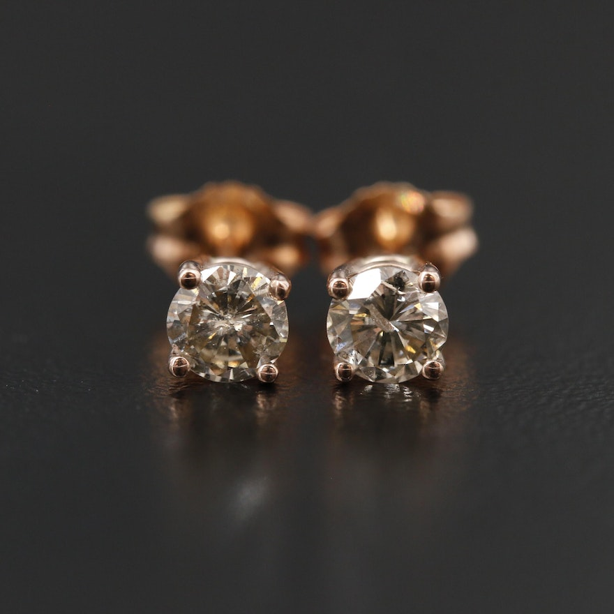 14K Rose Gold 0.69 CTW Diamond Stud Earrings