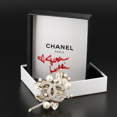 Chanel Rhinestone and Pearl Foliate Motif Brooch with Susan Lucci Signed Box