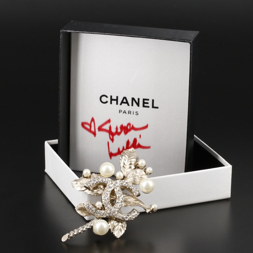 Chanel Rhinestone and Imitation Pearl Foliate Brooch with Susan Lucci Signed Box