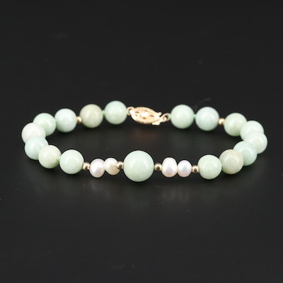 14K Yellow Gold Beaded Jadeite and Cultured Pearl Bracelet