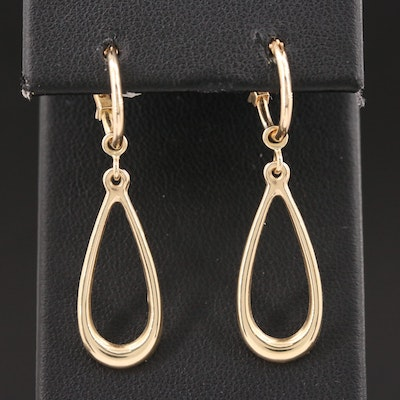 14K Yellow Gold Hoop Earrings with Jackets