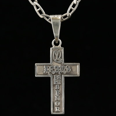 Sterling Silver Cross Pendant Necklace Featuring Mariner Link Chain