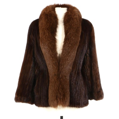 Corded Mahogany Mink Fur Jacket with Fox Fur Trim by Monaraes