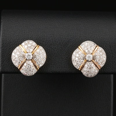 14K Yellow Gold 1.05 CTW Diamond Pavé Quatrefoil Earrings