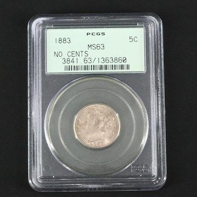 """PCGS Graded MS63 1883 Liberty Head """"V"""" Nickel, No """"CENTS"""" Variety"""