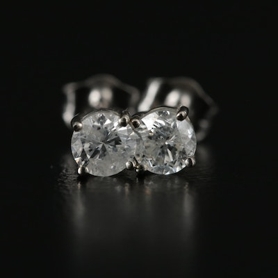 14K White Gold 0.40 CTW Diamond Solitaire Stud Earrings
