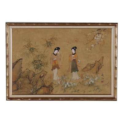 East Aisan Gouache Painting of Women in Garden
