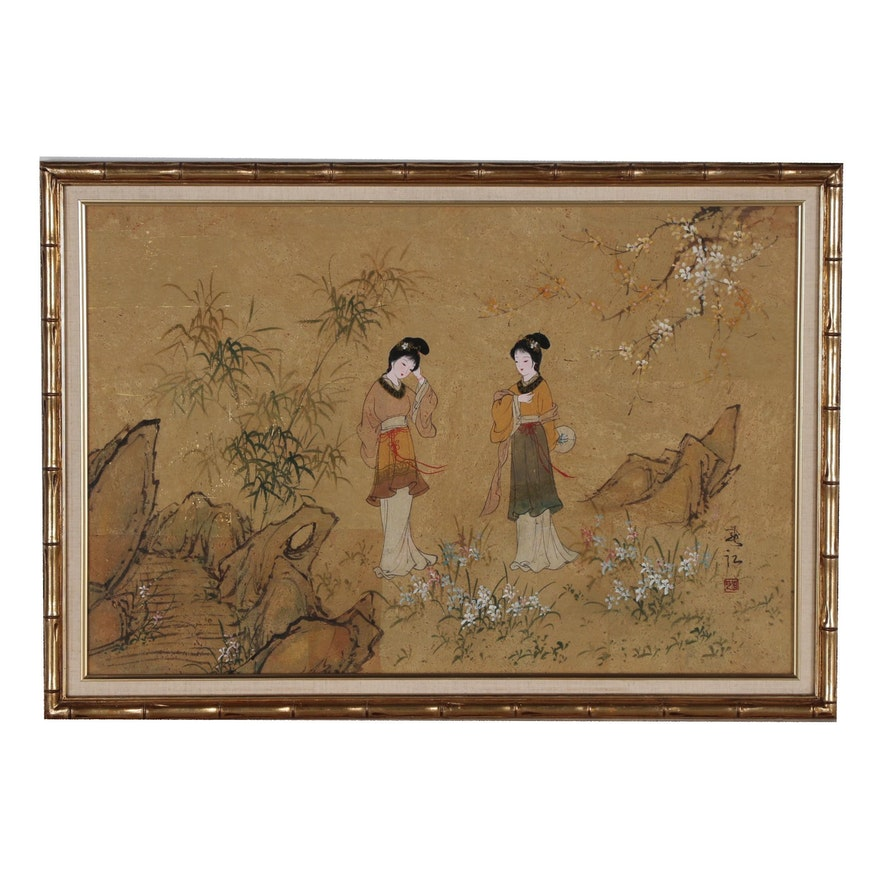 East Aisan Gouache Painting of Women in Garden